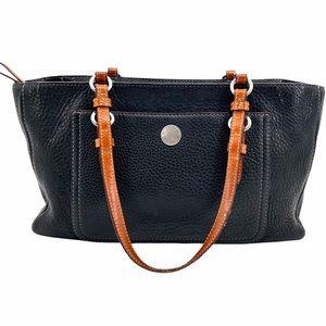 Coach Pebbled Leather Shoulder Bag Black & Brown
